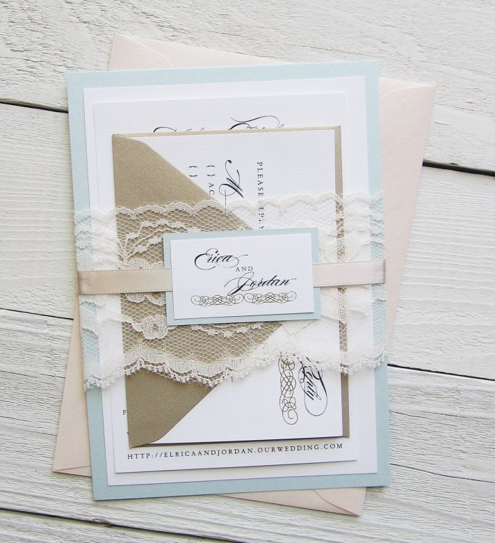 Vintage Wedding Themes Baroque Invitation Suite Pastels Lace and Gold