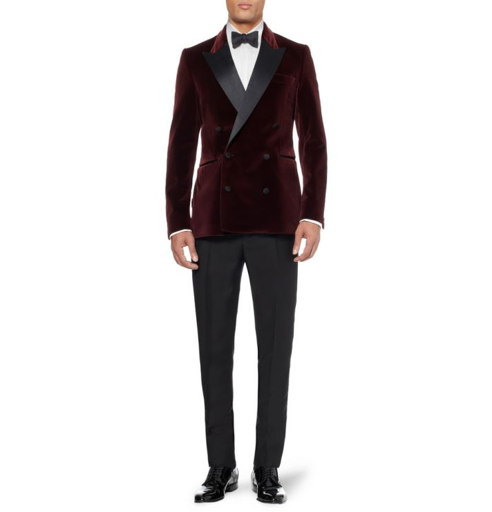 Deep Red Velvet Tuxedo Jacket for Stylish Grooms
