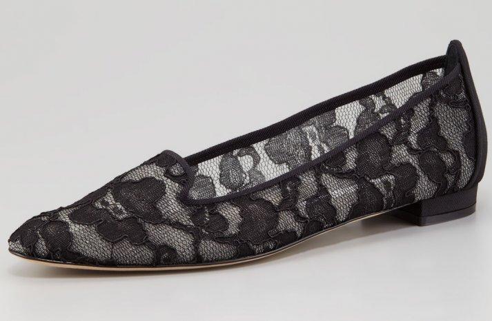 Flat Bridal Shoes Black Lace Manolo Blahnik