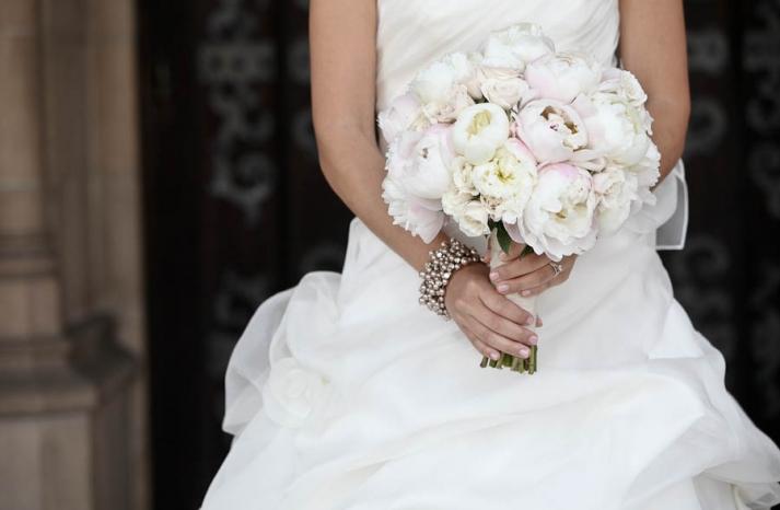 Romantic Light Pink Peony Bridal Bouquet