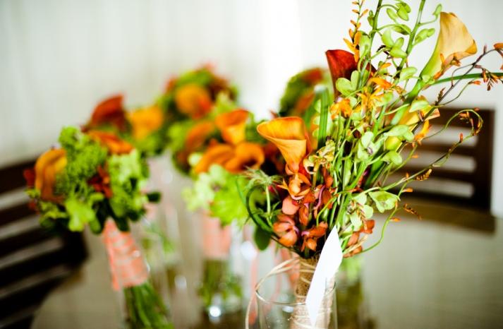 Tropical Orange Green Bridal Bouquet for Beach Wedding