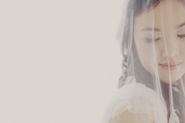 Beautiful Bride Draped in Lace and Tulle