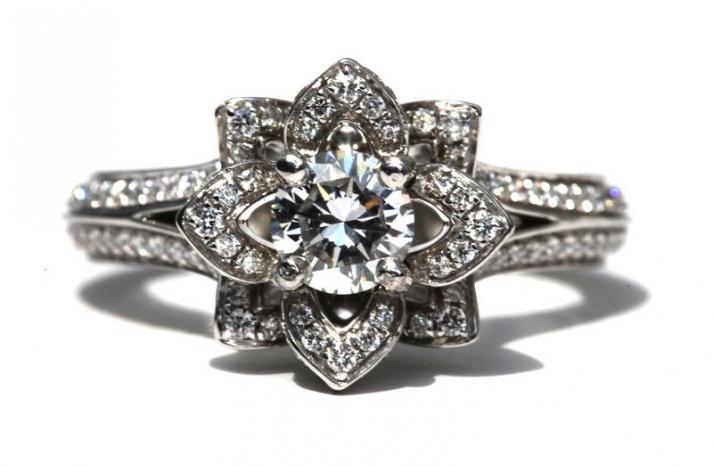 Something Old Engagement Ring Floral Design