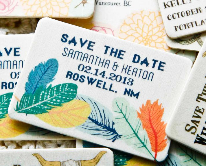 Colorful Feather Wedding Save the Dates