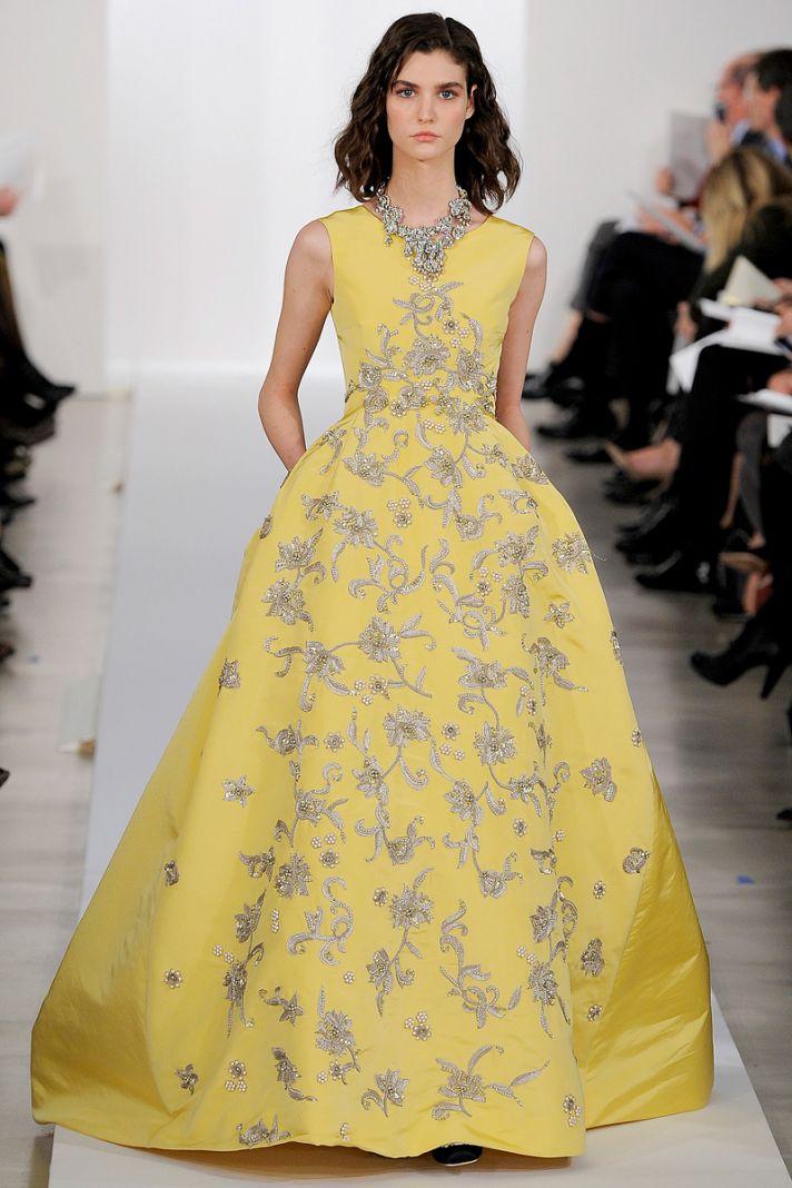 Yellow Oscar de la Renta Ballgown Floral Embroidered