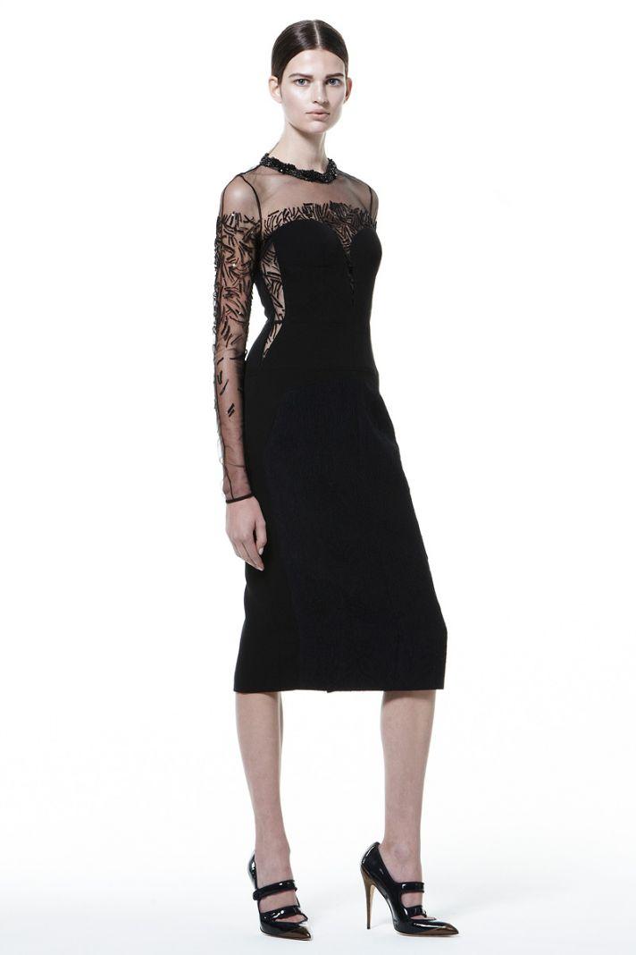 Black Velvet Bridesmaid Dress with Sheer Sleeves