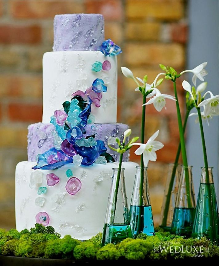 Unique Wedding Cake with Aqua Lilac Navy Sugar Details