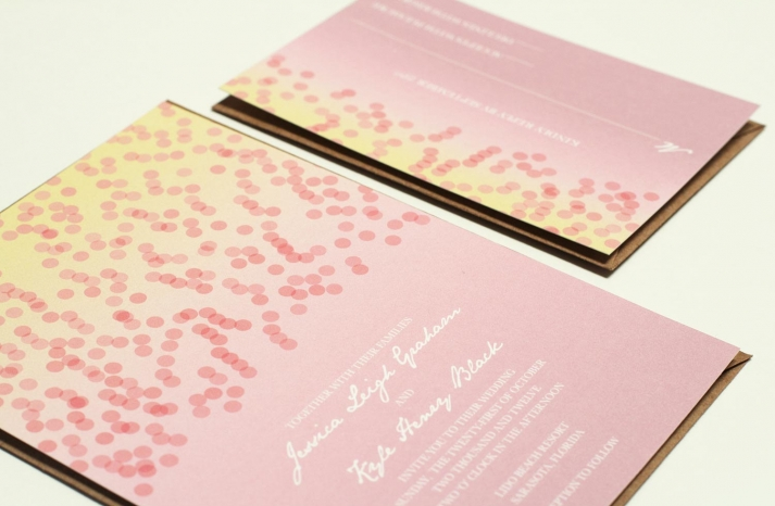 Modern Confetti Wedding Invitations