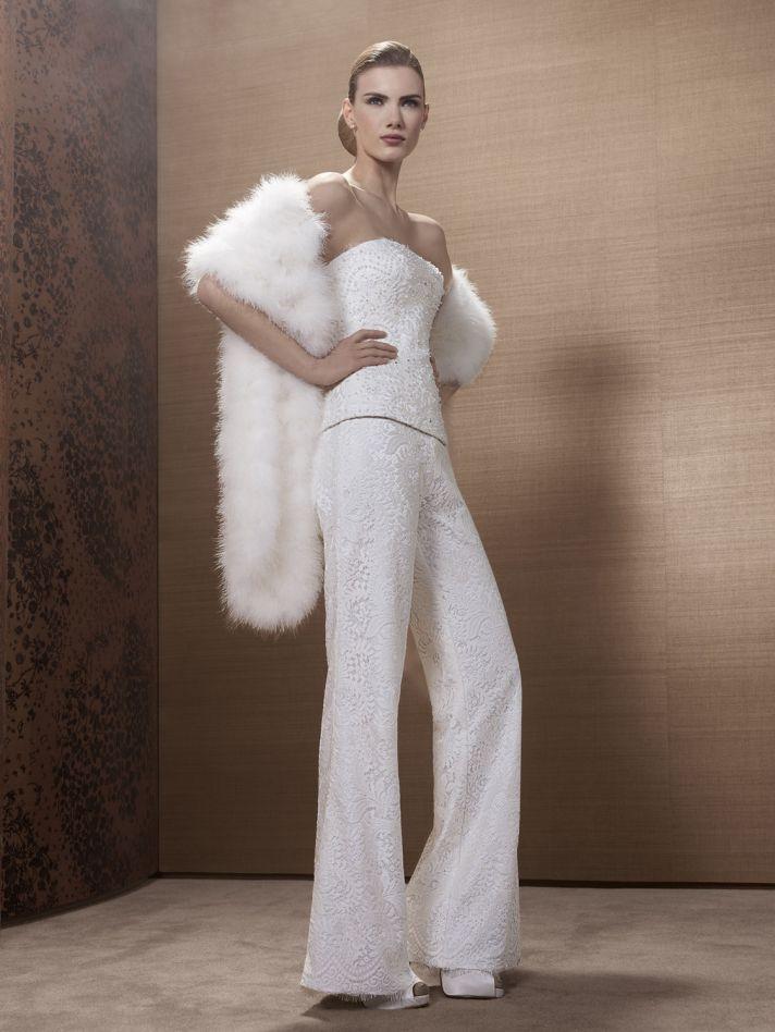 2013 Wedding Dress by French Bridal Designer Elisabeth Barboza embellished pants suit