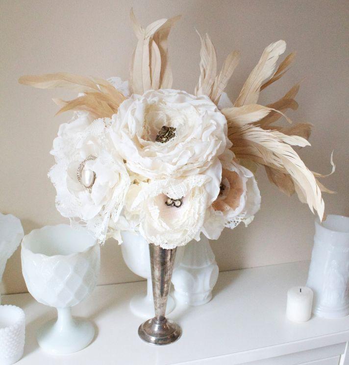Wedding Flower Alternative Fabric Feather Centerpie e