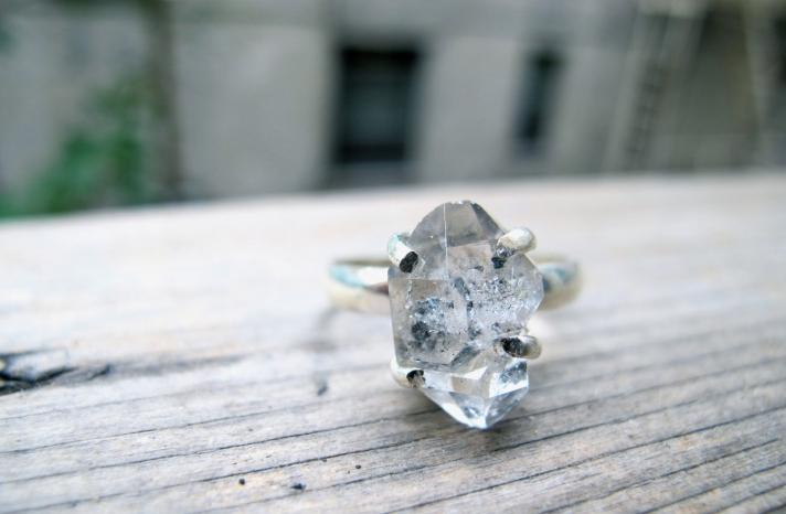 Stunning Herkimer Diamond Engagement Ring