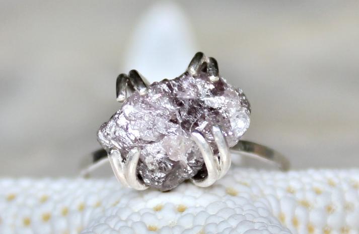 Alternative Engagement Rings Rough Purple Diamond