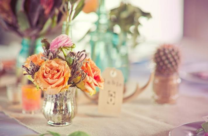 Peach Light Pink Roses in Mercury Glass Jars