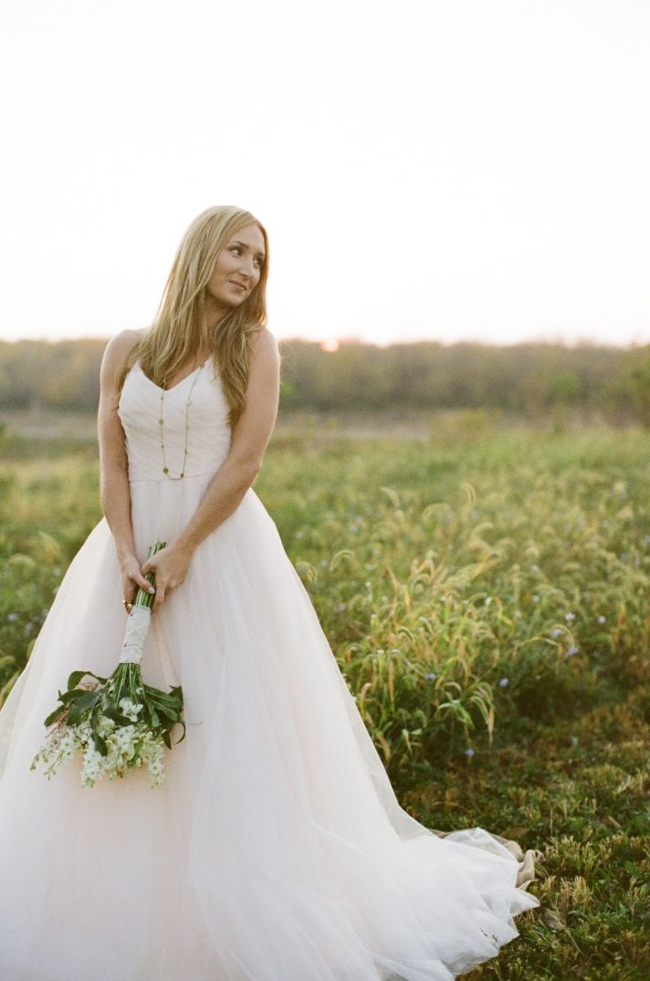Outdoor wedding shoot romantic bride with bouquet