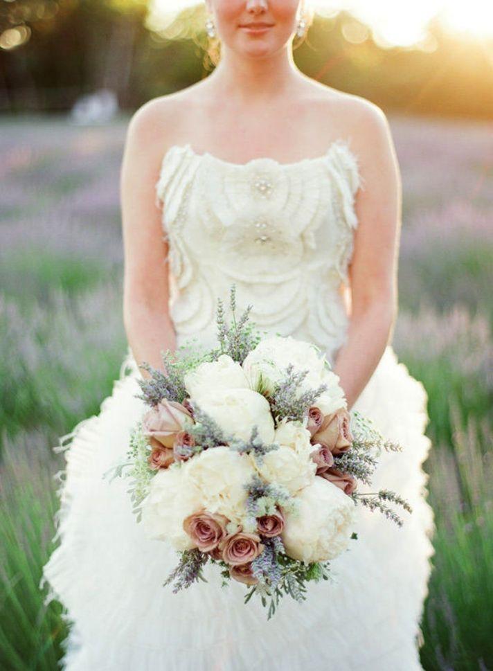 Romantic Bridal Bouquet Of Peonies And Lavendar