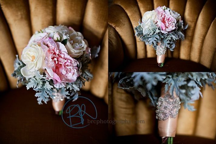 Peony Gardenia Lambs Ear Wedding Bouquet