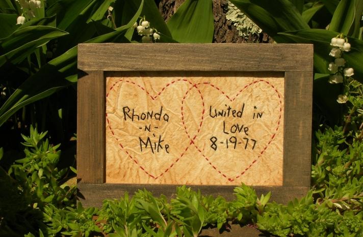 Unique Wedding Sign Handstitched Hearts