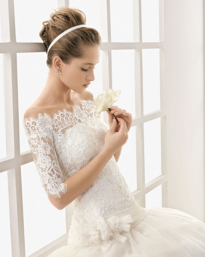 Classic Lace Wedding Dress with Removable Sleeved Bolero