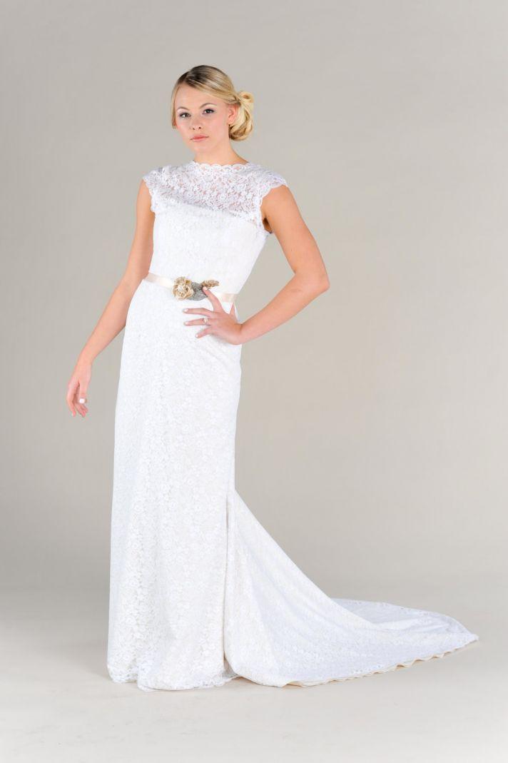 Lace Illusion Neckline Wedding Dress with sash