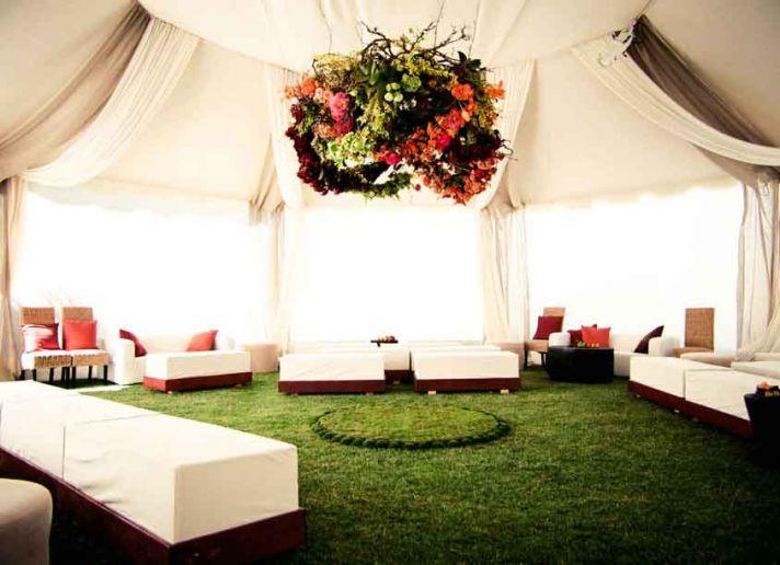 Floral Chandelier in Elegant Wedding Tent