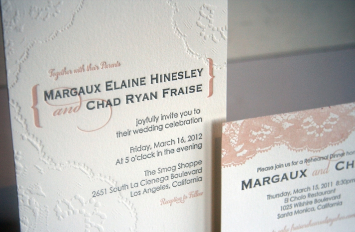 Lace inspired romantic wedding invitations
