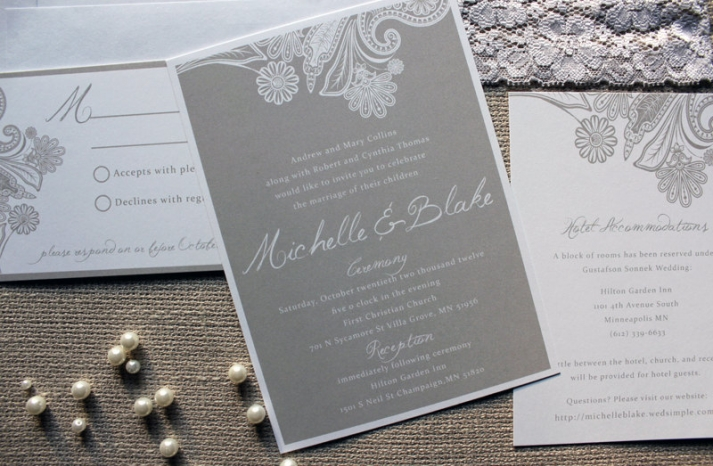 Modern Lace Inspired Wedding invitations