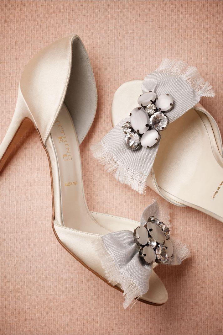 Ivory Satin Wedding Shoes with Embellished Bow