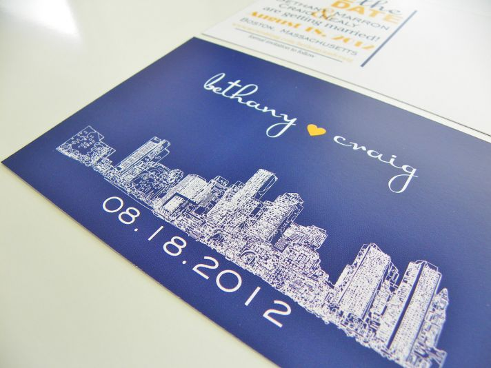 City Skyline Wedding Save the Date