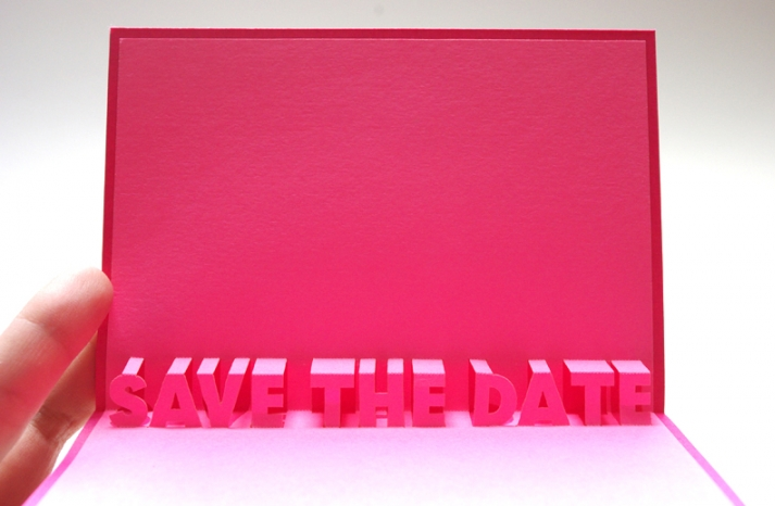 Hot Pink Wedding Save the Date Modern Popup