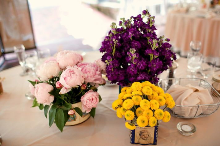 Purple Pink Yellow Wedding Flower Centerpieces