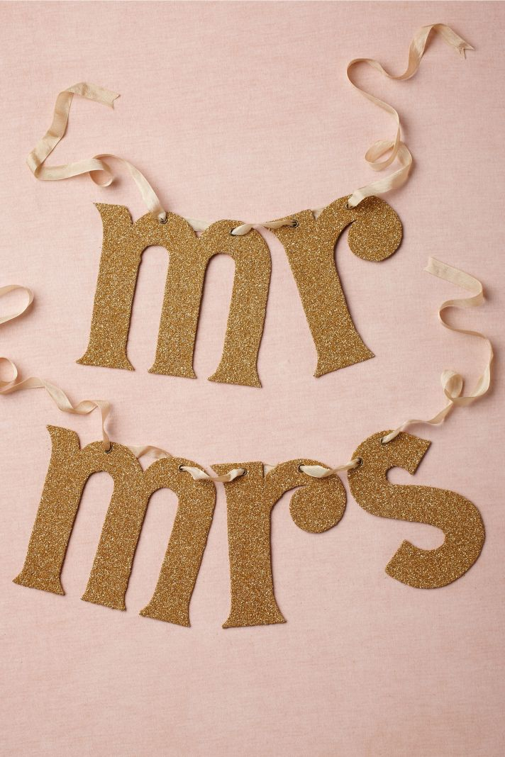 Gold Mr and Mrs Wedding Sign