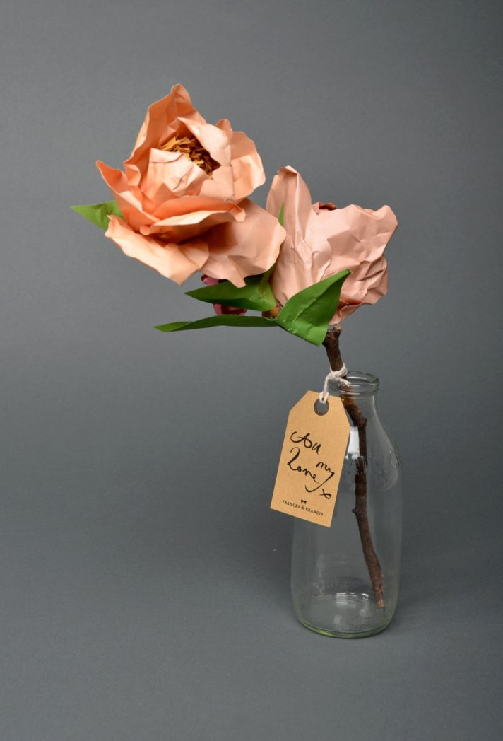 peach paper flower bridal bouquet