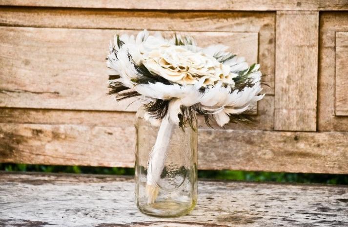 Feather Wedding Bouquet in Mason Jar