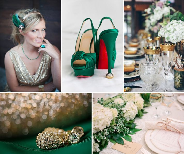 Emerald Green and Gold Wedding Colors