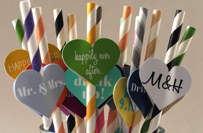 Customized Straws for the Wedding Reception Colorful with Hearts
