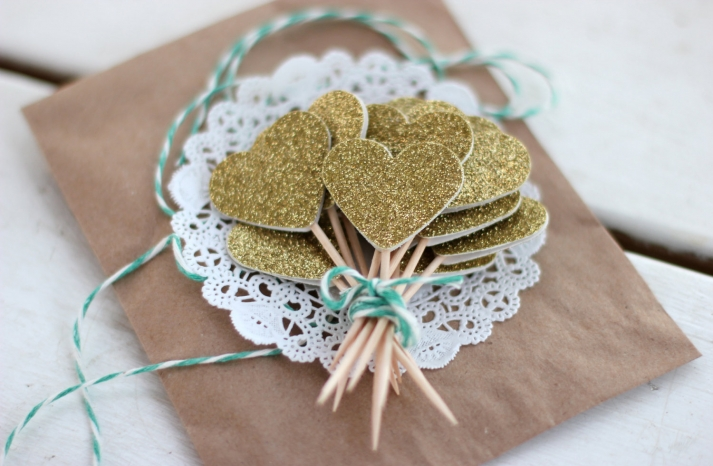 Gold Glitter Wedding Cupcake Toppers