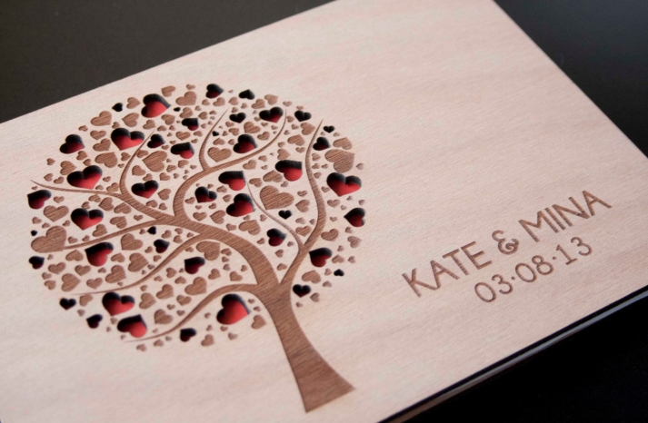 Custom Wood Wedding guest book carved hearts