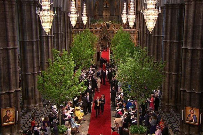 Royal Wedding Tree Lined Ceremony Aisle