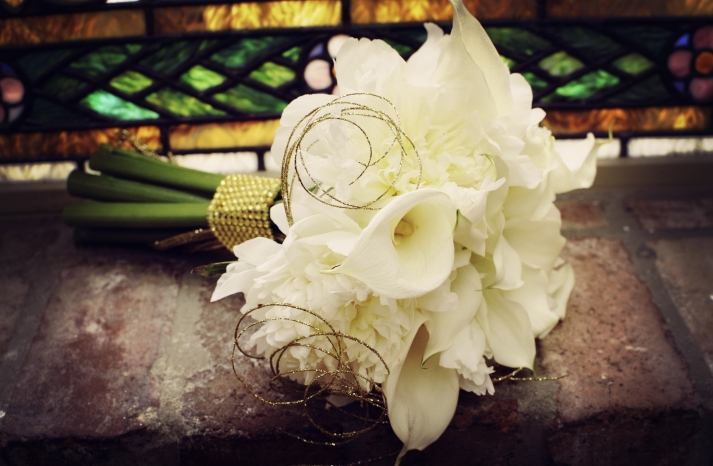 Classic Ivory Bridal Bouquet with Vintage Gold Accents