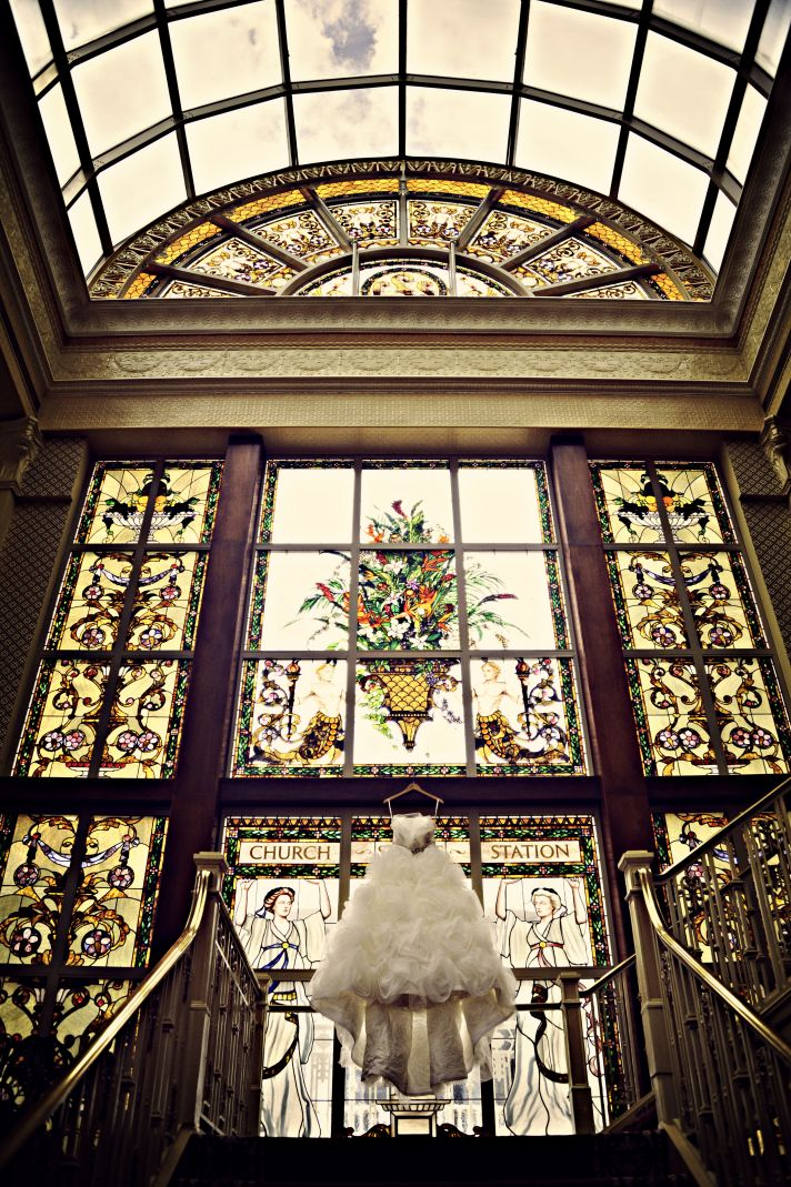 Frothy Ballgown Wedding Dress Captured in Venue