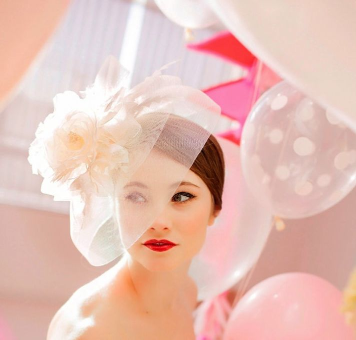 Beautiful Bride with Bright Red Lips Whimsical Headpiece