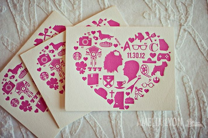 Ivory and Pink Letterpress Wedding Invitations