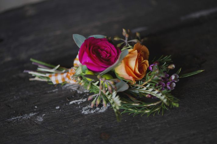 Orange and Fuschia Grooms Boutonniere