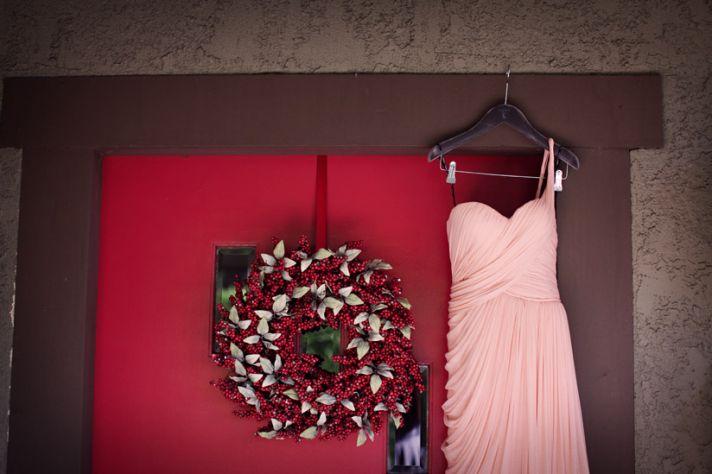 Bride Wears Pink One Shoulder Wedding Dress