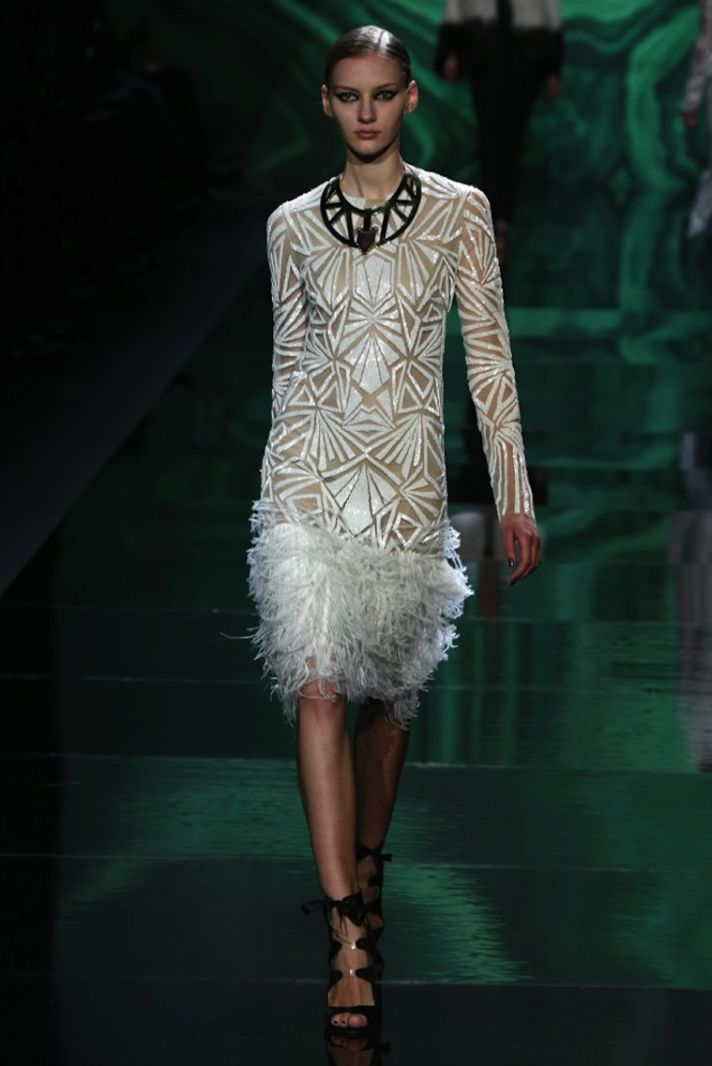 Beaded LWD with feather hem by monique lhuillier