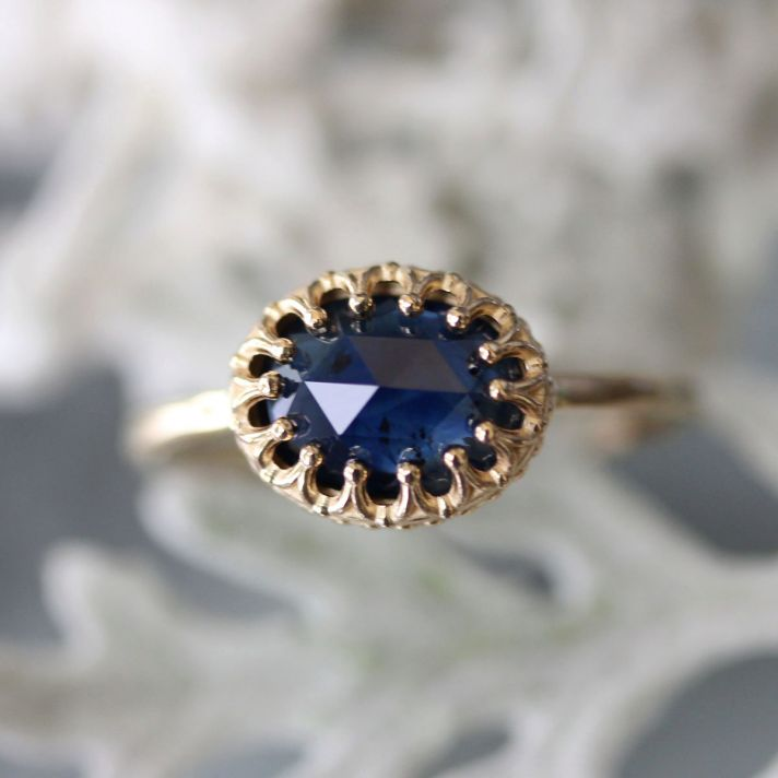 Blue sapphire engagement ring rose cut