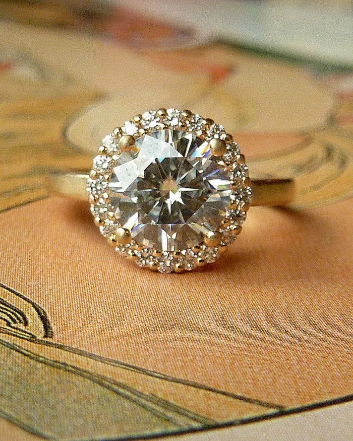 Halo Engagement Ring With Moissanite Stone