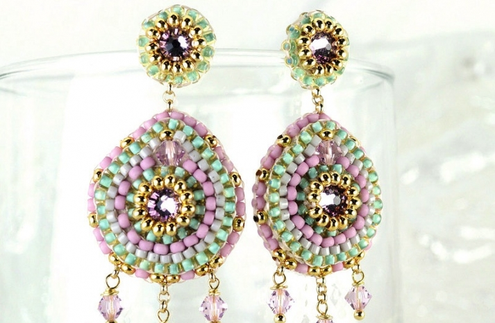 Statement Wedding Earrings Pastel and Gold Tribal Chandeliers