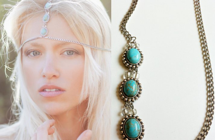 Tribal Wedding Headdress Turquoise and Silver