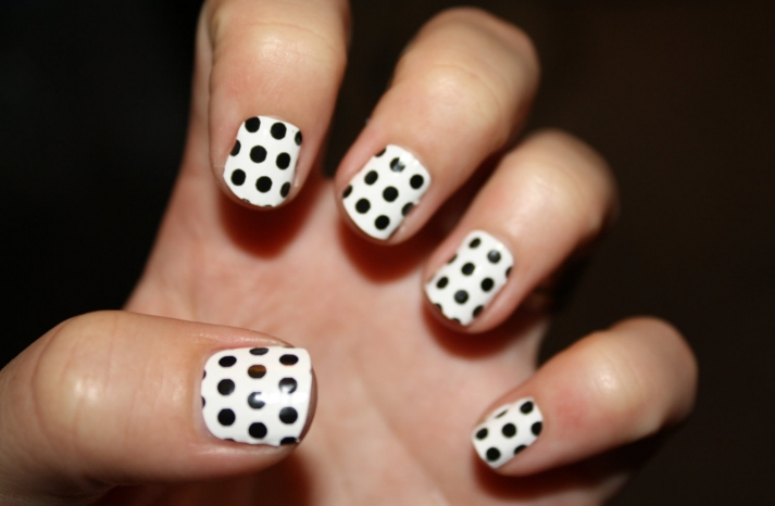 White Black Polka Dot Bridal Manicure